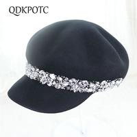 QDKPOTC Wool felt Equestrian Knight Hat for Women Cap Fashion Rhinestone Octagonal Concave Convex Fedora Hat