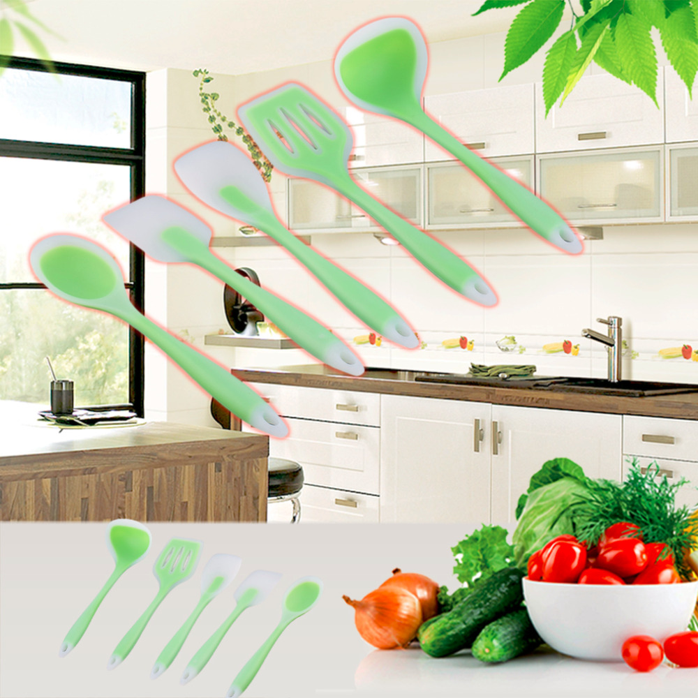 1Pc Hot Silicone 5 Piece Kitchen Cooking Utensil Set Heat Resistant Non Stick Tools