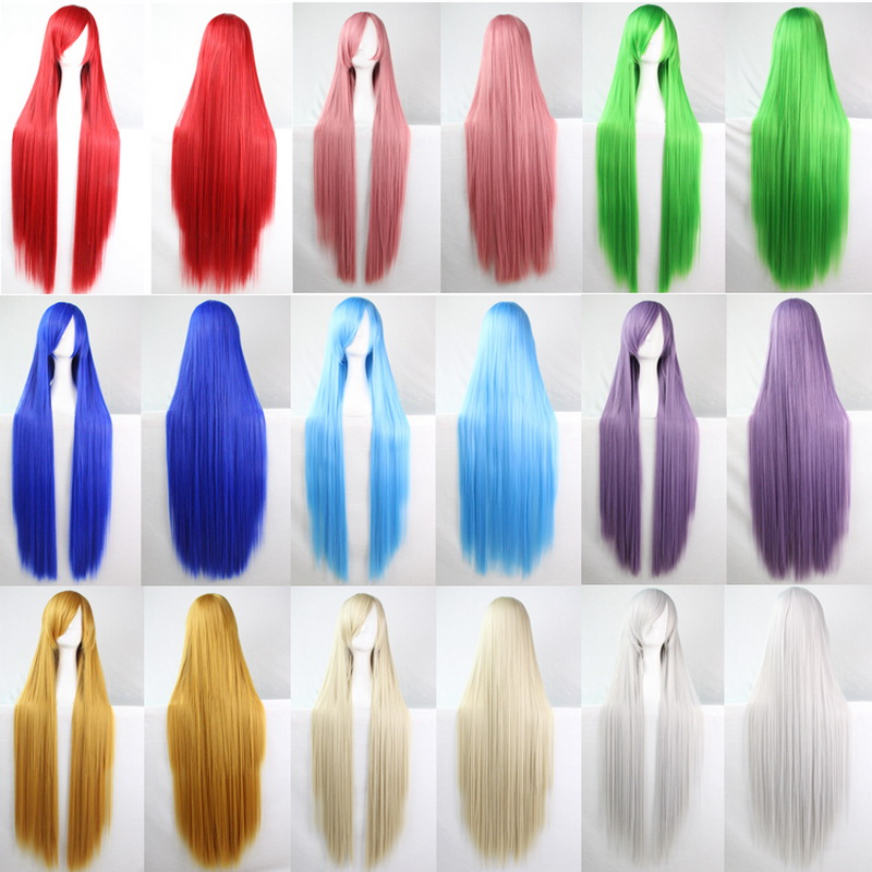 100cm Fashion Cheap Straight Long Cosplay Wig Black Silver White Red Blue Purple Pink Green Synthetic Hair Wigs For Women