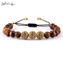 WML 8mm tiger bead knotting Bracelet Luxury pave black zircon Balls Charm men Bracelets & Bangles for Jewelry
