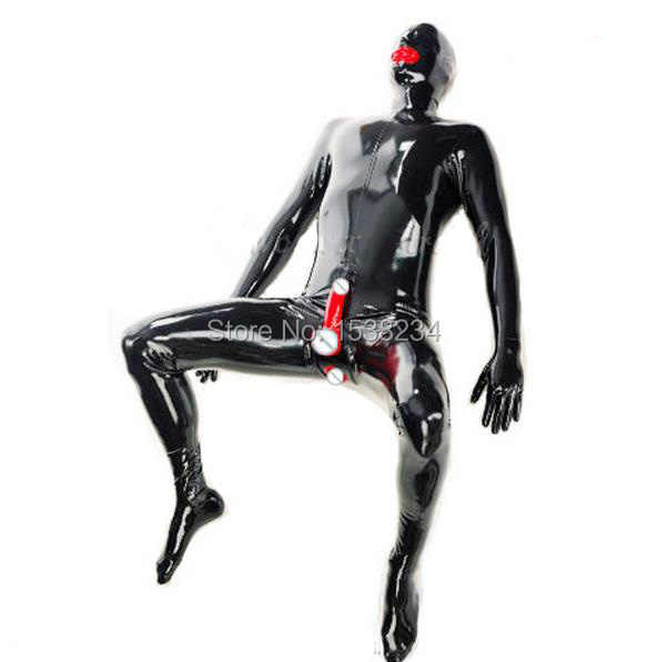 Latex shorts with an integrated hood