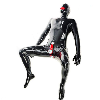 Sexy Corpo Pieno Tuta di Lattice piedi Latex Catsuit uomini culo bocca preservativo pene guaina catsuit di gomma gummi hood complessiva calzini e calzettoni maschera xxl