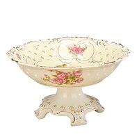 Новый Винтаж Китай пьедестал керамическая чаша для фруктов руки делают выдалбливают золотым ободком Цветок Питание фарфоровая миска Главн