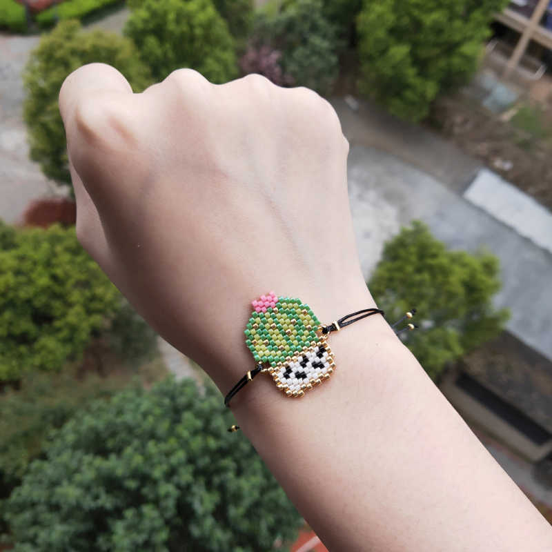 FAIRYWOO New Fashion Girls Boho Jewelry Cactus Bracelets Green Desert Handmade Drawstring Bracelet Woman Kid Friendship Gifts
