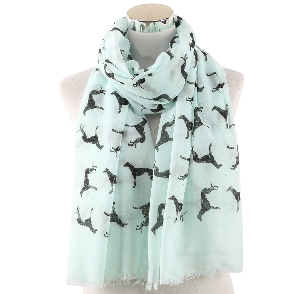 FOXMOTHER New Fashion Scarves Spring Summer Pink White Doberman Dog Animal Printed Scarf For Dog Lover Mom Gifts Dropshipping