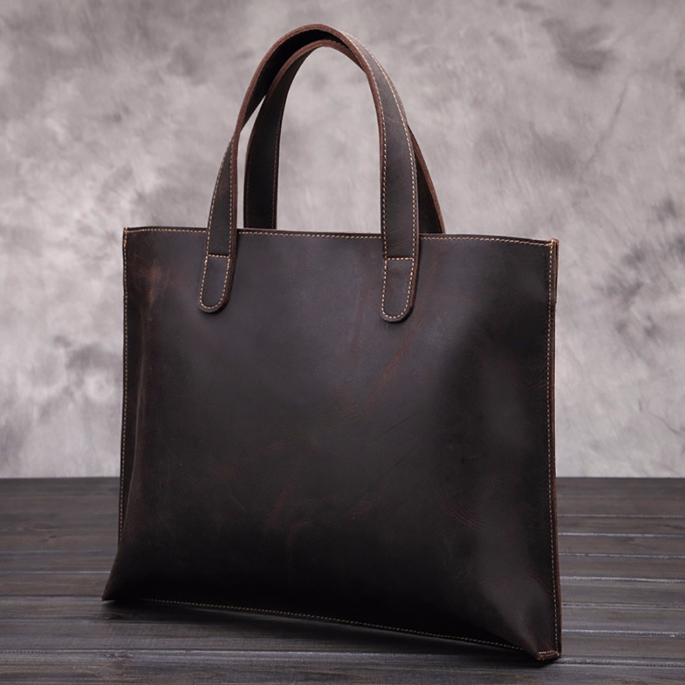 Top Quality Crazy Horse Cowhide Business Handbag Men Vintage Tote Bag Laptop Briefcase Genuine Leather Messenger Shoulder Bags crazy horse cowhide men business tote handbag vintage laptop bags briefcase men genuine leather messenger sling shoulder bag