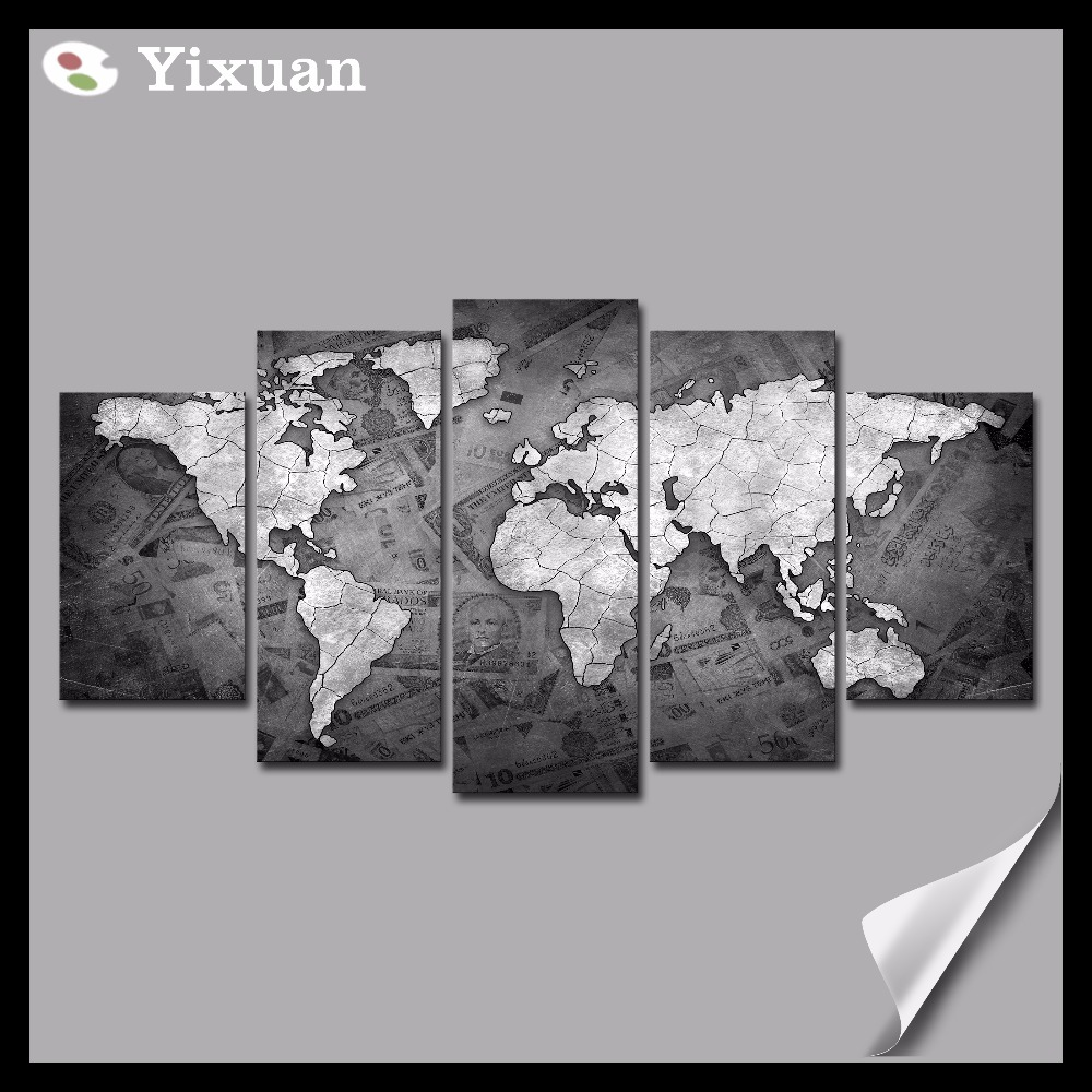 Black And White World Map Framed.5p High Quality Frame Canvas Painting Black And White World Map Wall