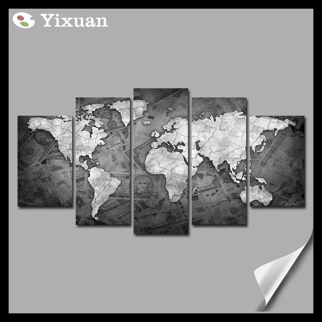 5p high quality frame canvas painting black and white world map wall 5p high quality frame canvas painting black and white world map wall art painting modern home gumiabroncs Image collections