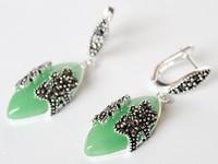 Vert JADE Marcassite Fleur PIERCING Lady S 925 Bijoux En Argent Boucle D Oreille 11 2