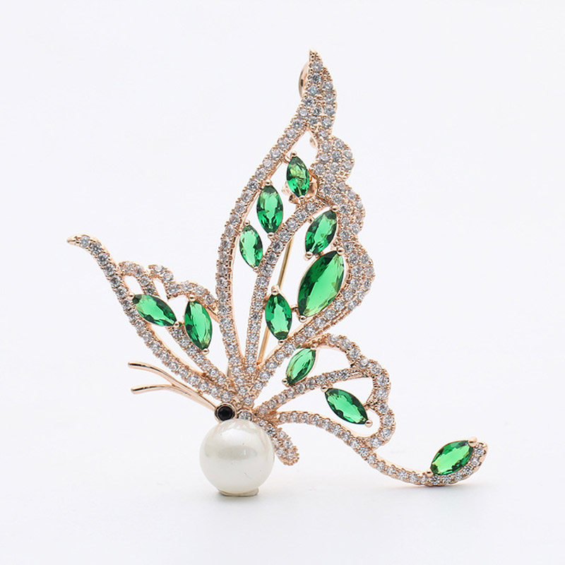 UALGL Fashion Pearl Lapel Pins Brooch Delicate Butterfly Shape Insect Vintage Green Stone Brooches For Women Wedding Accessory