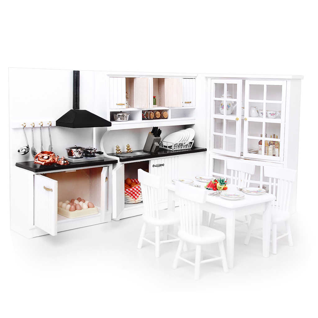 3 Sets 1/12 Dollhouse Miniature Wooden Kitchen Cabinet Table Chair Tea Set Pretend Play Furniture Toys for Children Gift Collect