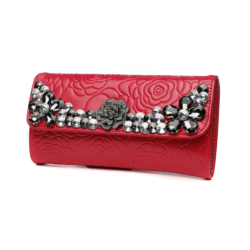 Women Genuine Leather Crossbody Bag Wallet Purse Hand Clutch Bag Lady Flowers Printing Diamond Messenger Shoulder Evening Bag vintage serpentine genuine leather woman clutches evening bag crossbody chain shoulder bag handbag clutch wallet lady long purse