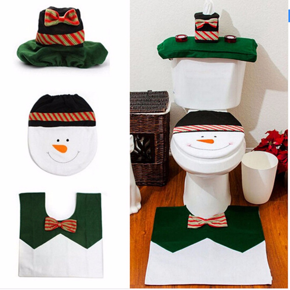 8 Pcs Lot Toilet Seat Cover Floor Rug Water Tank Christmas Snowman Bathroom Decoration 3 Piece Set Enfeite De Natal