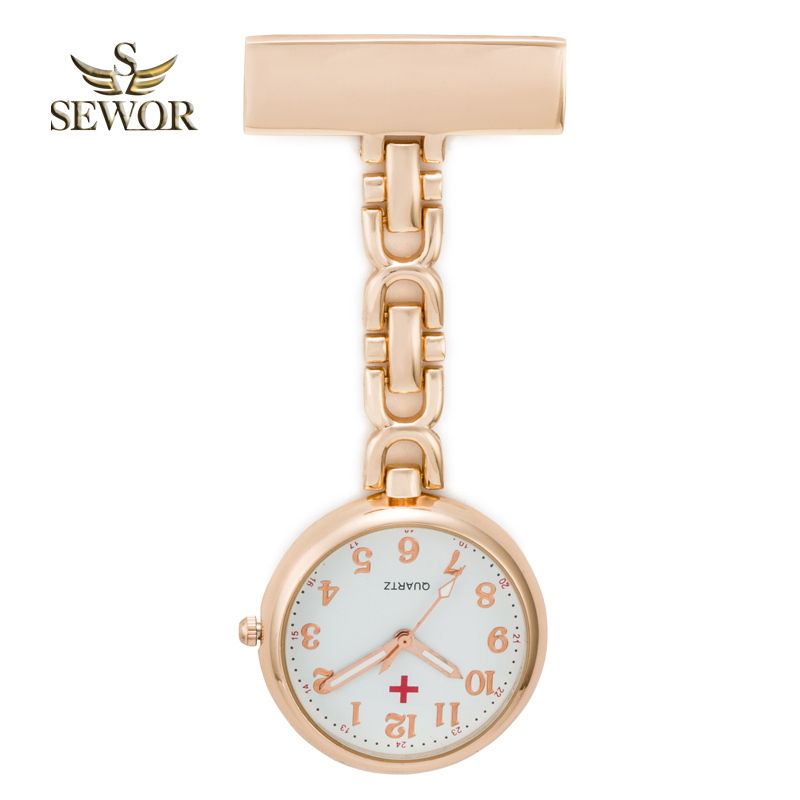 SEWOR 2018 Hot Fashion Nurse Table Pendant Watch with Clip Brooch Chain Quartz Pocket Watch Rose Glod C174
