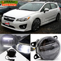 EeMrke Led DRL Para Subaru Impreza 2012 2013 Não Se Encaixam WRX STi 2 em 1 LEVOU Nevoeiro Luzes Lâmpada Com Q5 Lens Daytime Running luzes