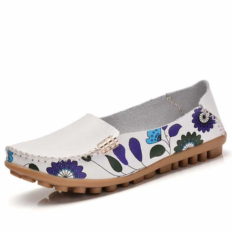 MVVJKE ฤดูใบไม้ผลิรองเท้าหนังแท้รองเท้าสตรีรองเท้าบัลเล่ต์ผู้หญิงพิมพ์ผู้หญิง 4 สีรองเท้าแตะ loafers รองเท้า