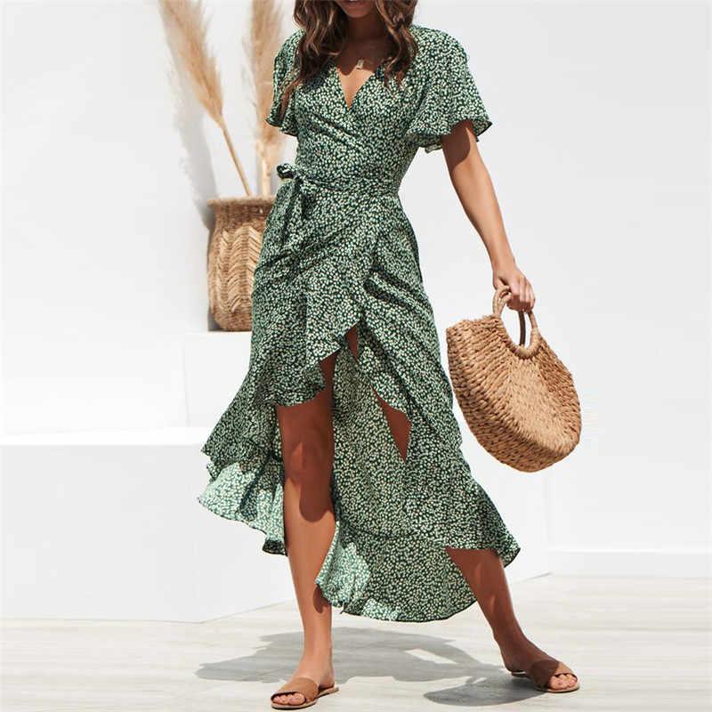 Летнее женское сексуальное пляжное платье с v-образным вырезом и цветочным рисунком, с короткими рукавами и поясом, Платья для вечеринок, большие размеры, Сарафан Летние платья XXL