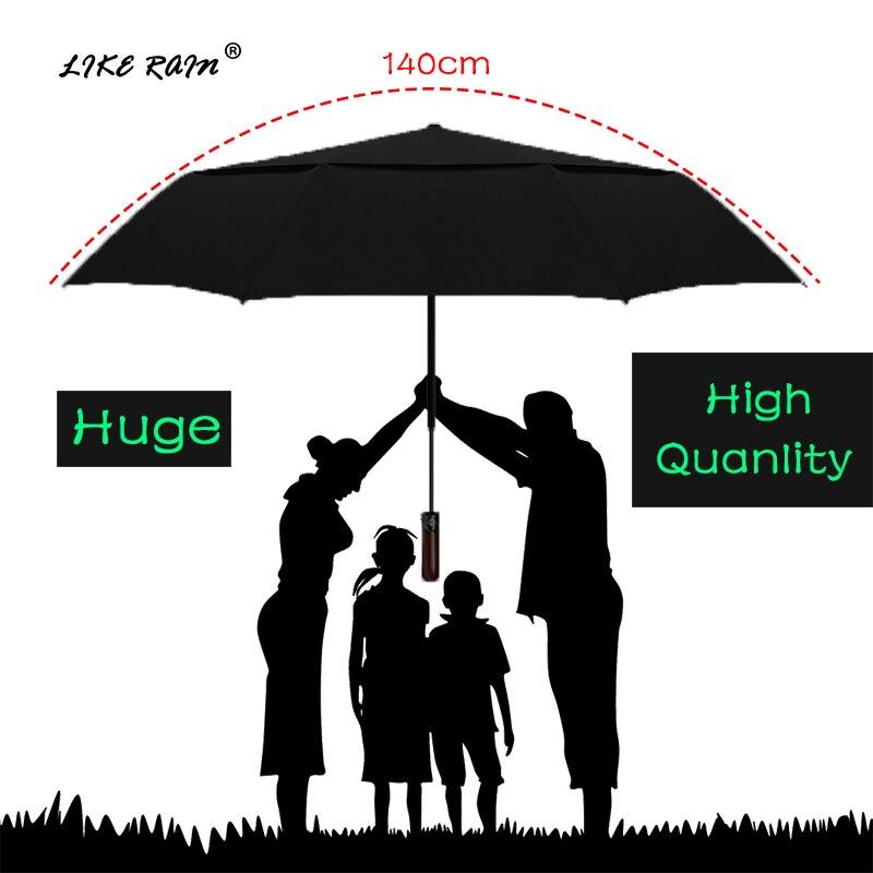 LIKE RAIN 140 centímetros Grandes Homens de Negócios Automática Guarda-chuva Das Mulheres Chuva Forte Sol Guarda-chuva de Golfe À Prova de Vento de Camada Dupla Dobrável UBY30