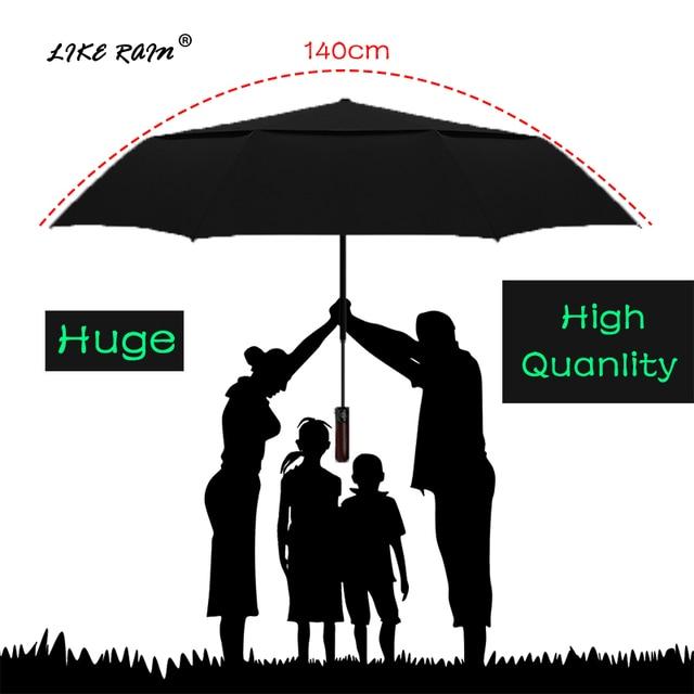 LIKE RAIN 140cm Large Men Business Automatic Umbrella Rain Women Strong Windproof Double Layer Folding Sun Golf Umbrella UBY30