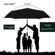 LIKE RAIN  140cm grandes hombres negocios Paraguas automático lluvia mujeres fuerte a prueba de viento doble capa plegable sol Golf paraguas UBY30