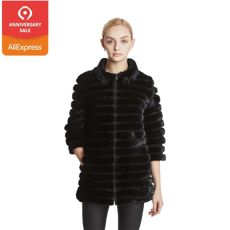 Huanhou reine Réel fourrure de vison manteau de femmes avec col mandarin, 2017 hiver populaire chaud de mode extra large grande taille manteau.