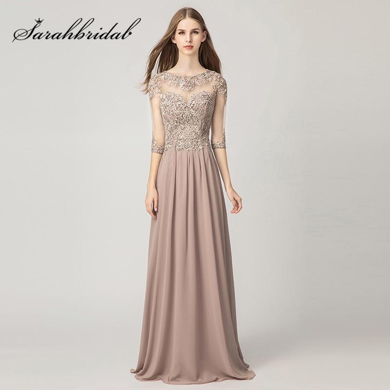 New Arrival Mauve A Line Evening Dresses 2019 Lace Appliques Chiffon Half Sleeve Long Prom Dress