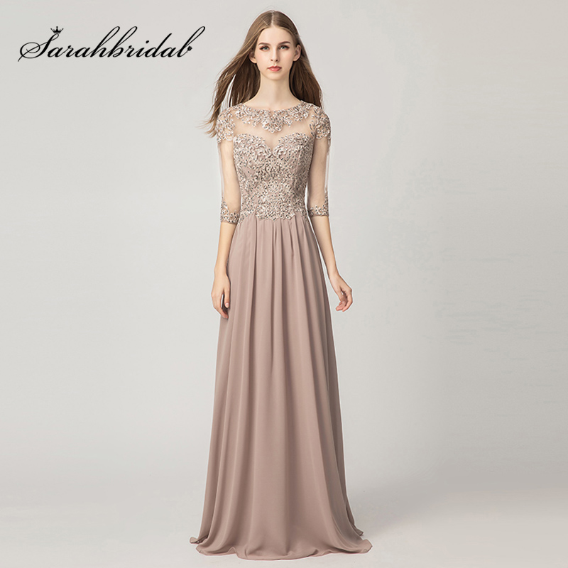 New Arrival Mauve A-Line Evening Dresses 2019 Lace Appliques Chiffon Half Sleeve Long Prom Dress Zipper Back Party Gowns L5159
