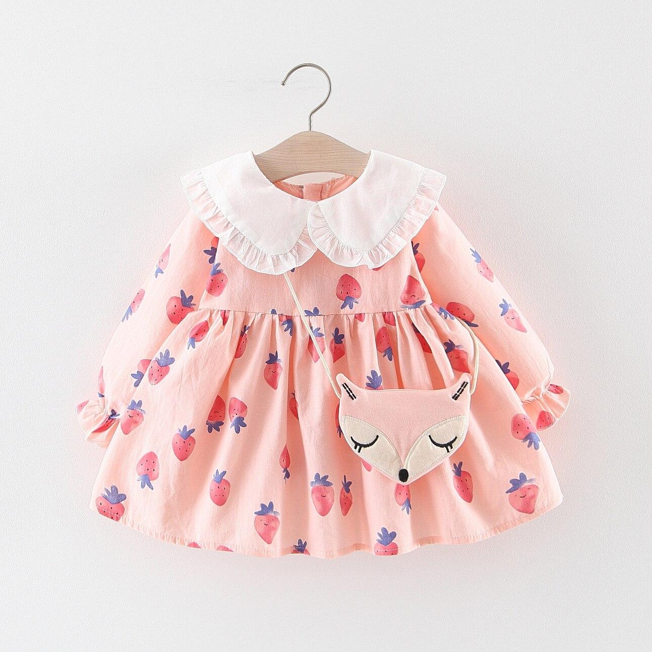 Girls Dress Strawberry Long-Sleeve kids Cotton Print