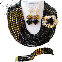 Laanc Black and Golden African Jewelry Sets 2017 Nigerian Beads Jewelry Set Wedding Necklace C10JK039