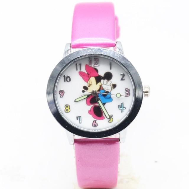 2018 Fashion Watch Mickey minnie Children Cartoon Watch Leather Wristwatch Casua