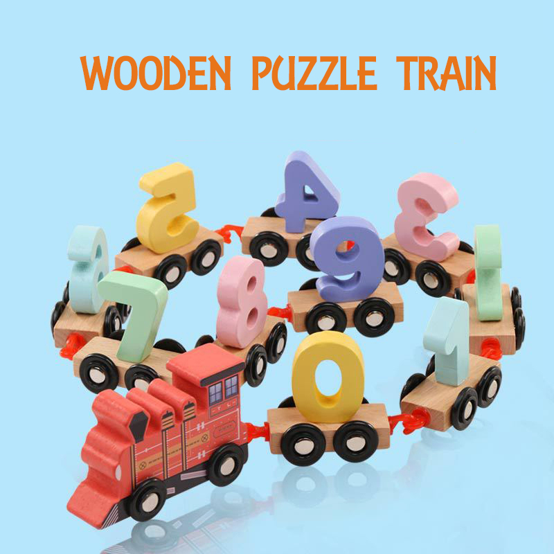Lovely Small Digital Wooden Train 0-9 Number Figures Wood Railway Model Early Educational Birthday Gift Toy for Kids ...