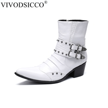 5e70f95c VIVODSICCO de los hombres de la moda de tacón alto botas de cuero genuino  tobillo botas de los hombres italiano vestido de negoc.