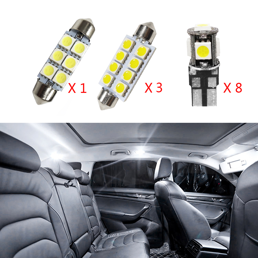 For BMW 318 320 320i 325 335 E90 E92 12V White Led Car Interior Decoration Light Lamp Bulbs Kit Replace Bulbs 12 Pcs