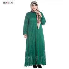 L-7XL Plus Size Woman Elegant Lace Dress 2017 Muslim Abaya Islamic Clothes for Women Long Sleeve Maxi Dress Green Khaki Black