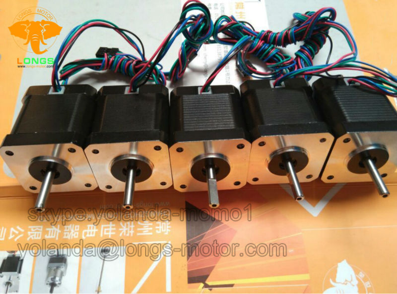 EU Free shipping 3 8days ship Stepper Motor 5PCS Nema17 78oz in 1 5A 1m cable
