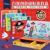 Bambini in legno Giocattoli Educativi Magnete Spogliatoio Puzzle Magnetici Set di Giochi Divertenti Adesivi Riutilizzabili per Bambini Regalo Di Natale
