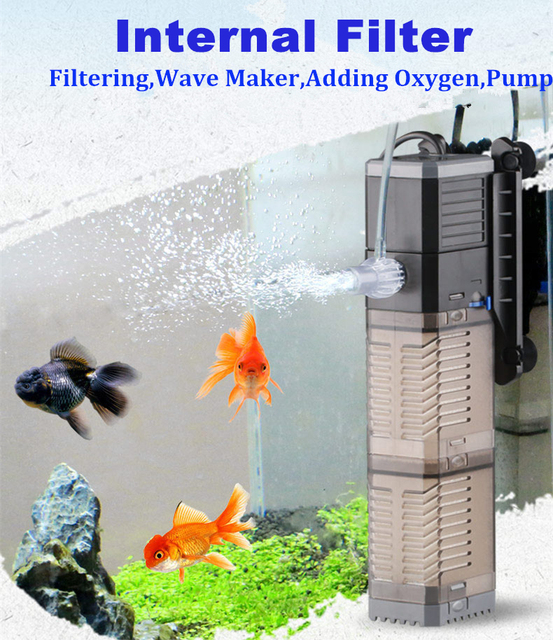4 In 1 Internal Aquarium Filter Pump Fish Tank Multifunction Water Pump Aerator Wave Maker Water Circulation Filter