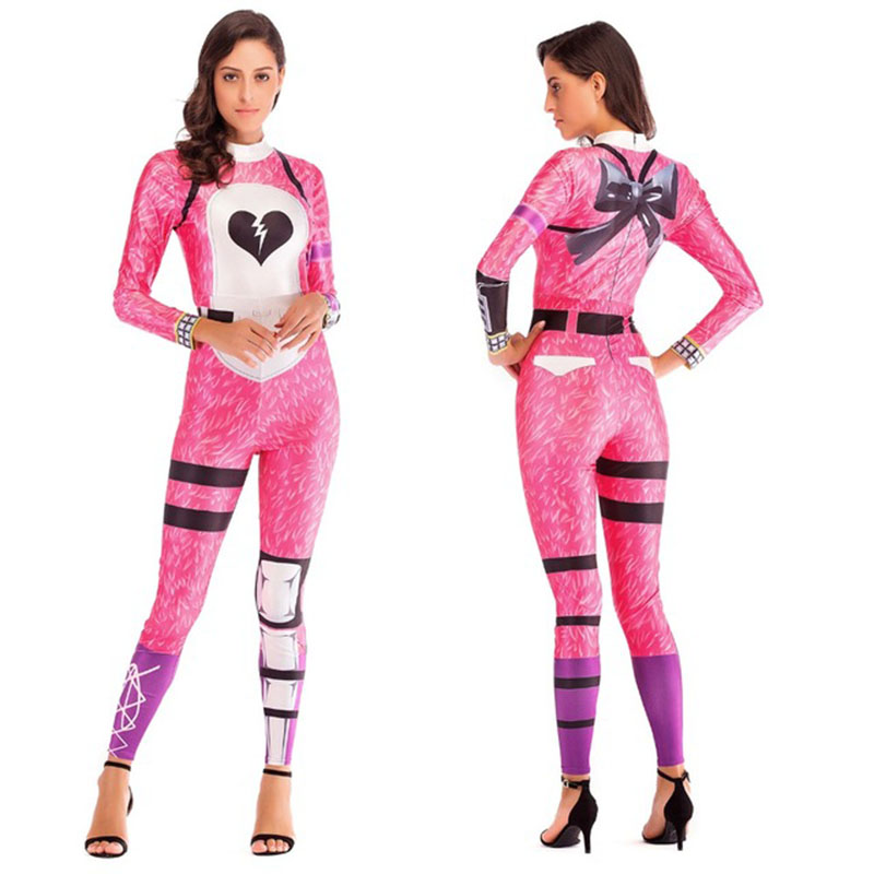 Adult Halloween Pink Bear Game Anime Cosplay Costume Girl Zipper Long Sleeve Jumpsuit Christmas Carnival Costume