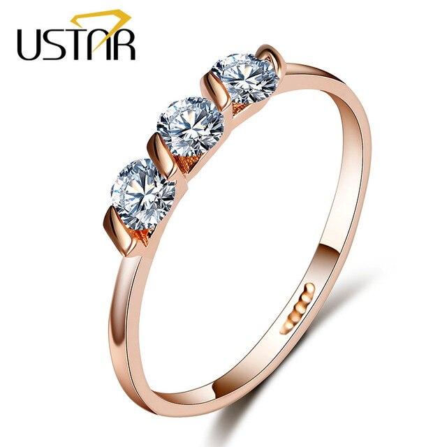 USTAR גבישי אירוסין טבעות לנשים עם AAA מעוקב Zirconia רוז זהב צבע חתונה טבעת נקבה אנל תכשיטים מתנות