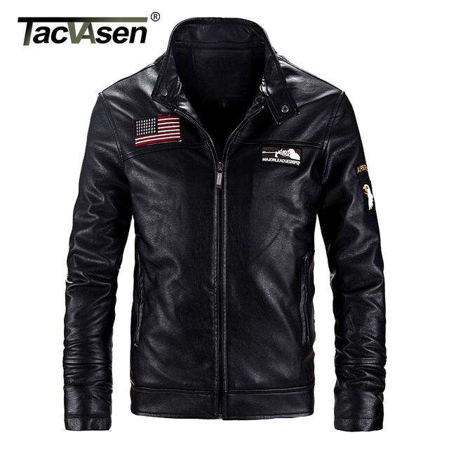 TACVASEN Thick Winter Men Tactical Leather Jacket Military Bomber Jacket  Coats US Army Pilot Jacket Motorcycle Coats TD-QZQQ-001 ba1108a1798