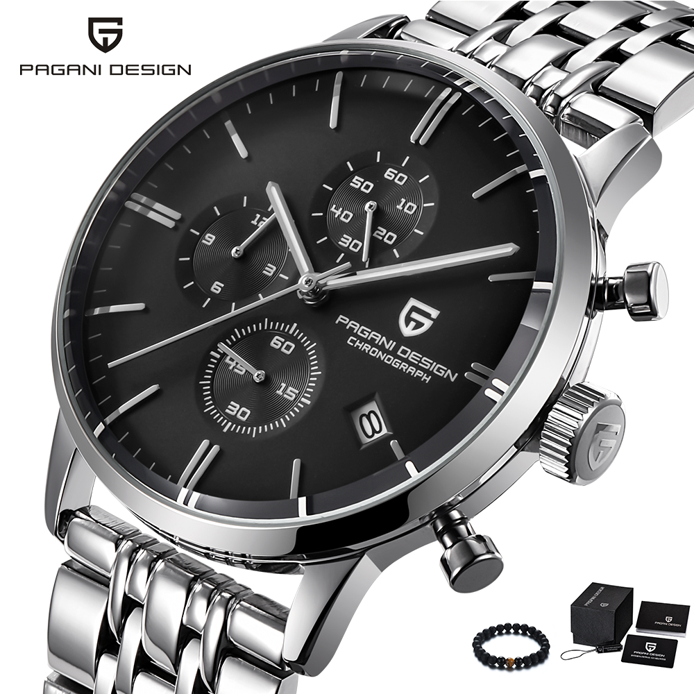 PAGANI Design Mens Watches Top Brand Luxury Quartz Watch Men Business Male Wristwatch Stainless Steel Band Waterproof Clock Man sinobi luxury brand new design men watch silver stainless steel mesh band quartz watches men simple slim business male clock
