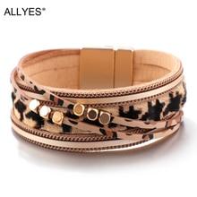 ALLYES Leopard Leather Bracelet Women Fashion 2019 Metal Tube Ladies Wide Bohemian Multilayer Wrap Bracelets Bangles