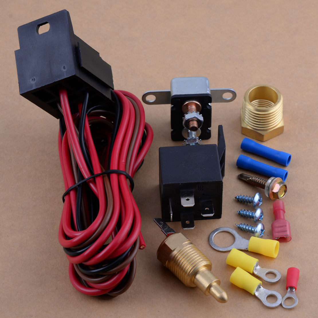 175-185 Degree Degree Fan Switch Engine Cooling Thermostat Sensor Relay Kit