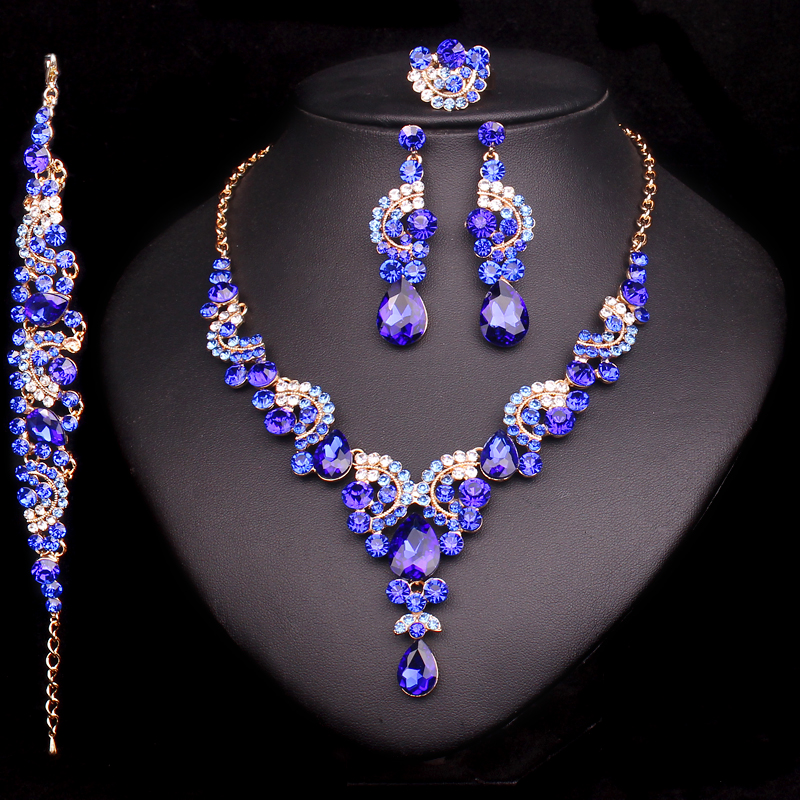 Fashion Blue Wedding Jewelry Sets For Brides Bridesmaid Prom Party Trinket Rhinestone Bridal Necklace Earrings Ring Bracelet Set