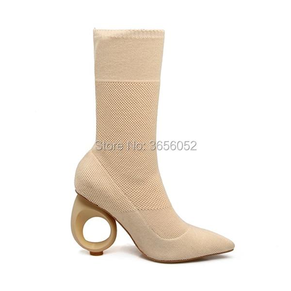 Qianruiti Tissu Chaussures beige Bottes Étrange Cheville Chaussette Mujer Bout Femme Stretch Black Noir Pointu Beige Botas Fretwork Talon Tricoté gtrqf0g