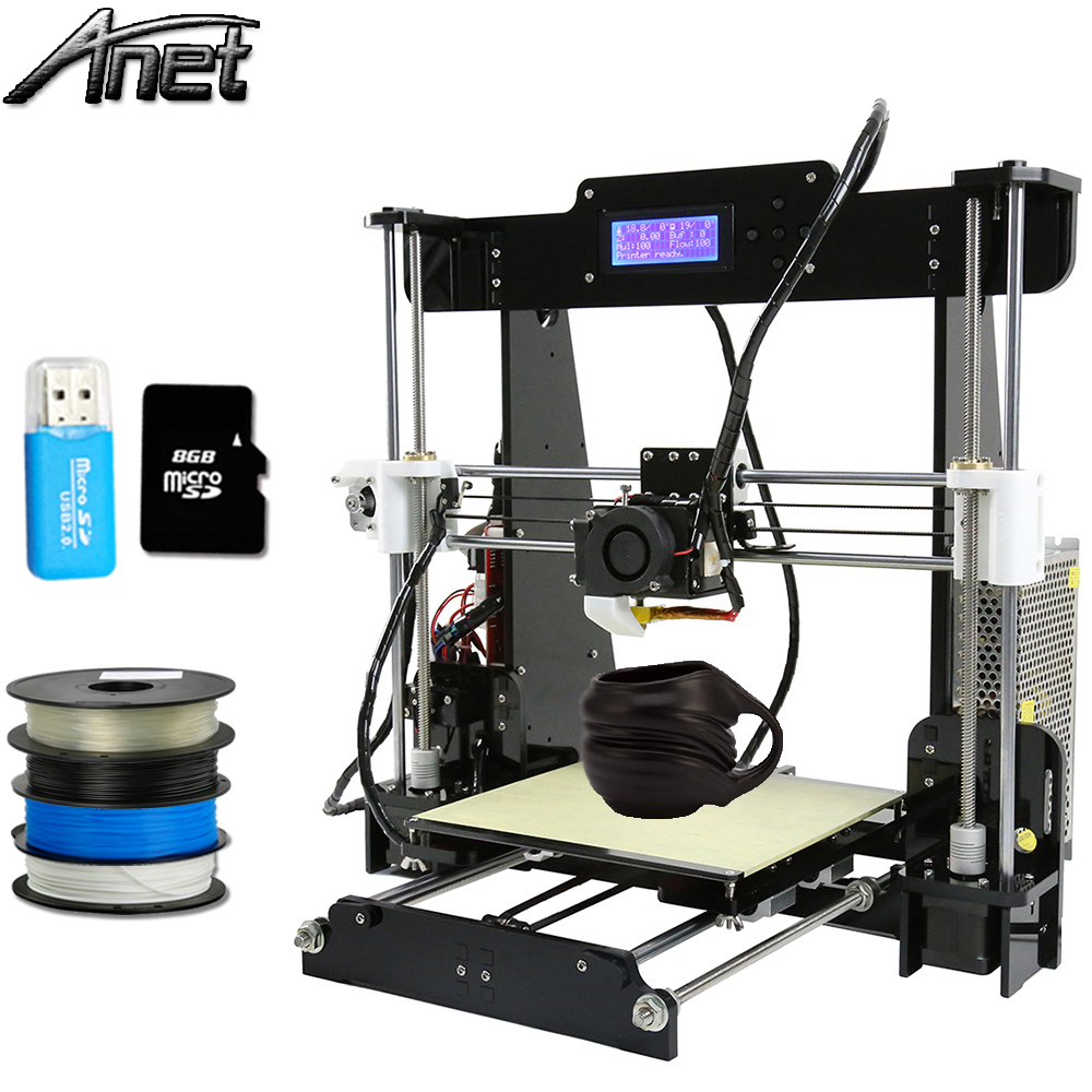 2017 Newest !!! Anet A8 Large Printing Size Precision Reprap Prusa i3 DIY 3D Printer kit with Filament &Card& Video Free