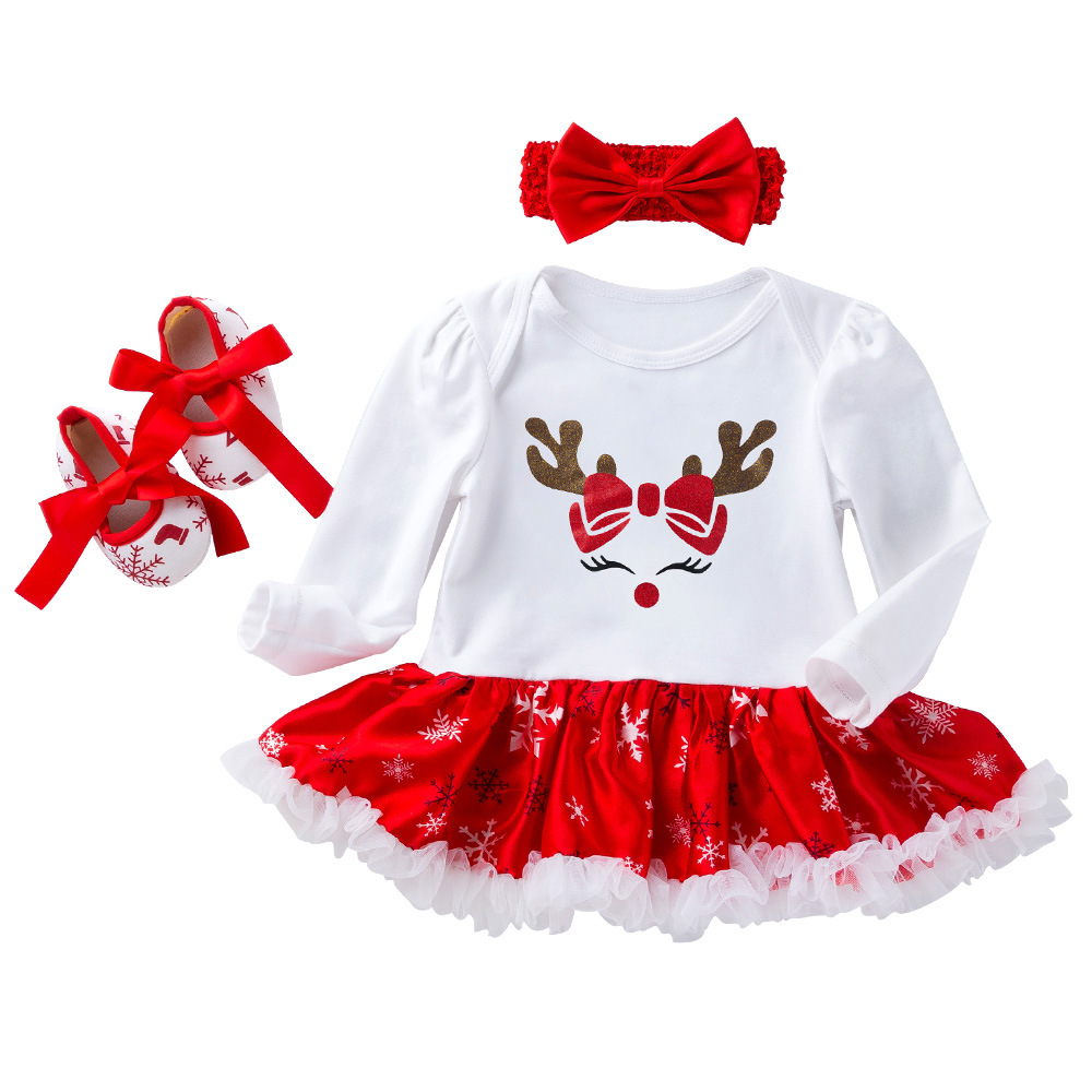 2019 Newborn Baby Girl Clothes Baby Christmas Outfits Cotton 3 Pieces Sets Infant Clothing Fall Baby Clothes S0706