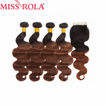 Miss Rola Hair Pre colored Ombre Indian Body Wave Hair 1B 33 Human Hair Weave 4