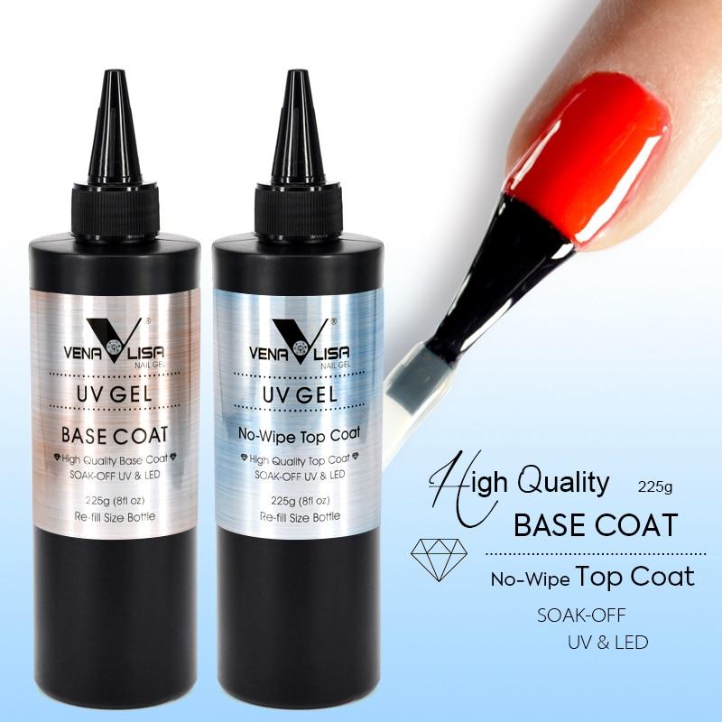 Nouveau nail gel 225 grammes 8fl. oz pas essuyer topcoat nail gel polish grand pot base manteau soak off LED nail gel