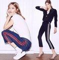 Calça jeans de cintura alta mulheres magras calças flare side stripe emendado jeans bigode rua tornozelo-comprimento das calças tamanho elegante mais p45